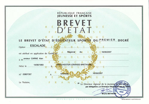 Brevet D'etat - diploma for french climbing instructors